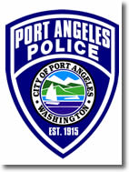 Police Department logo with blue badge and City of Port Angeles logo