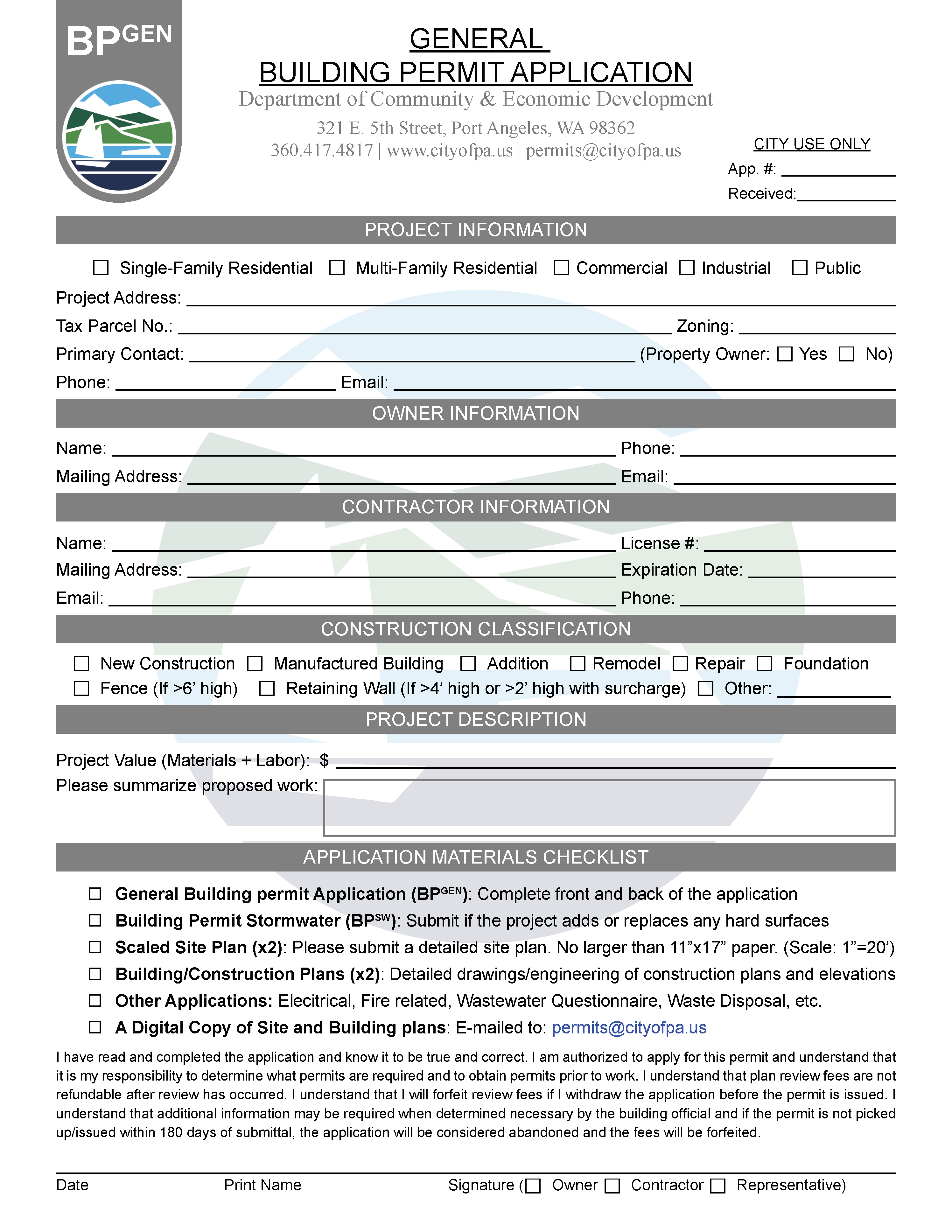 General Building Permit Application