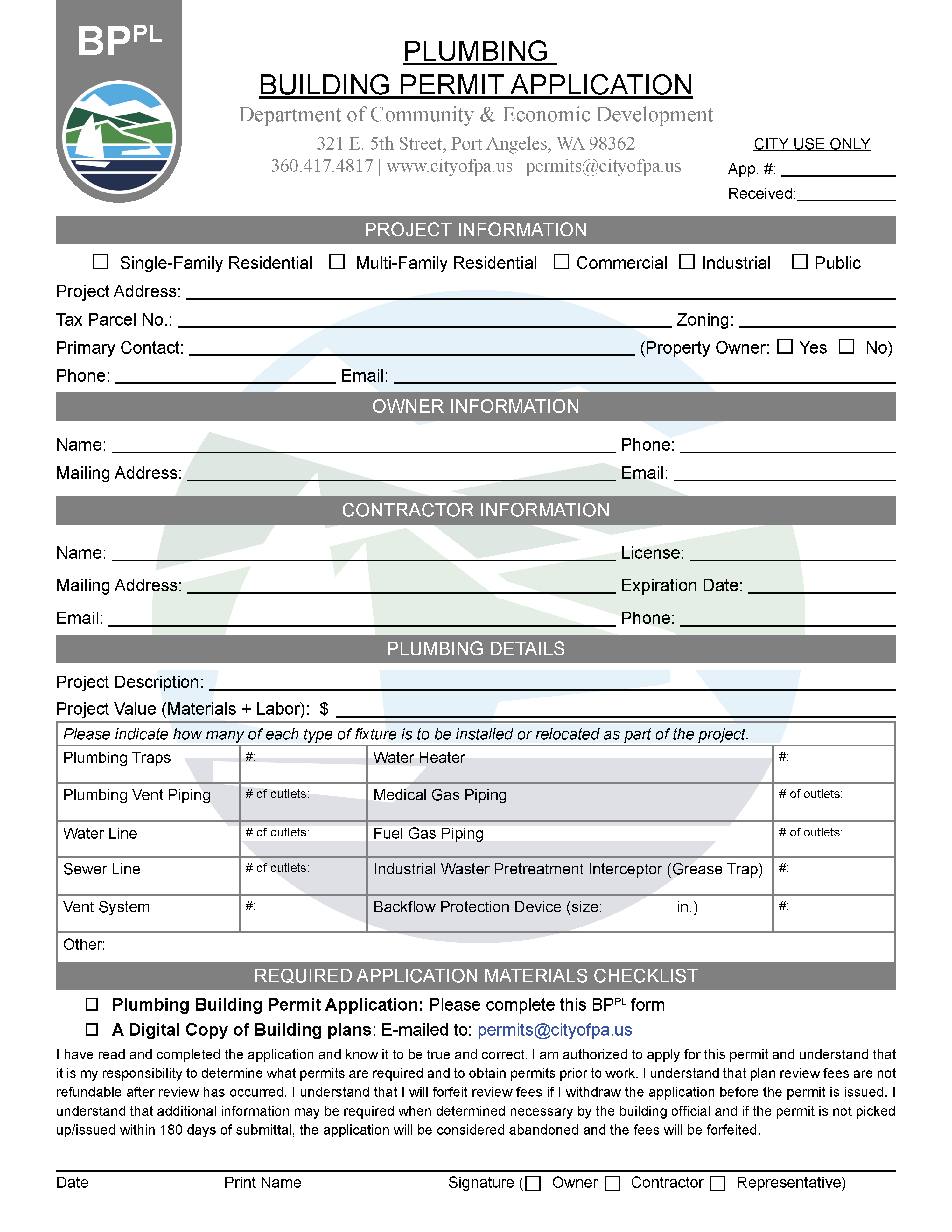 Plumbing Permit Application