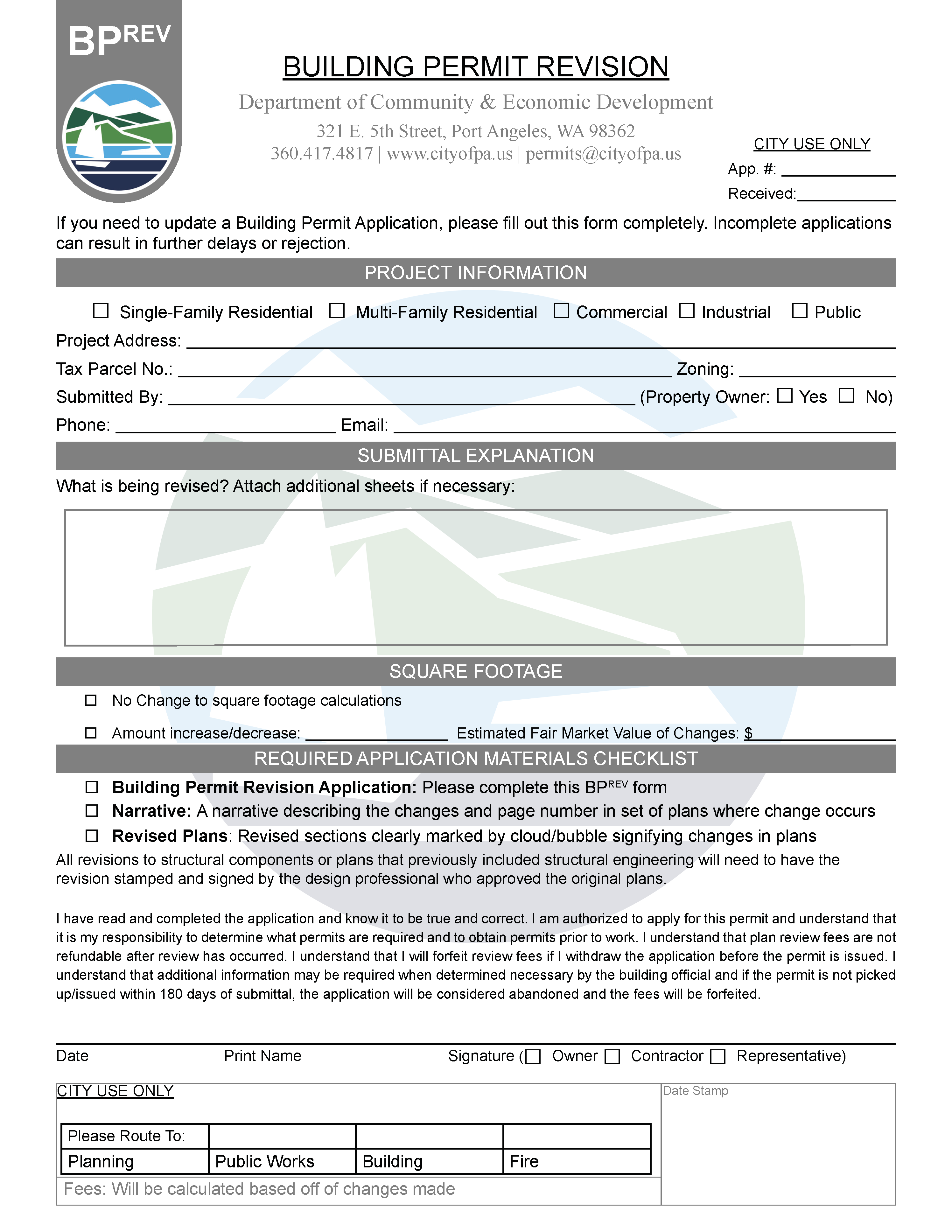 Buiding Permit Revision Permit Application