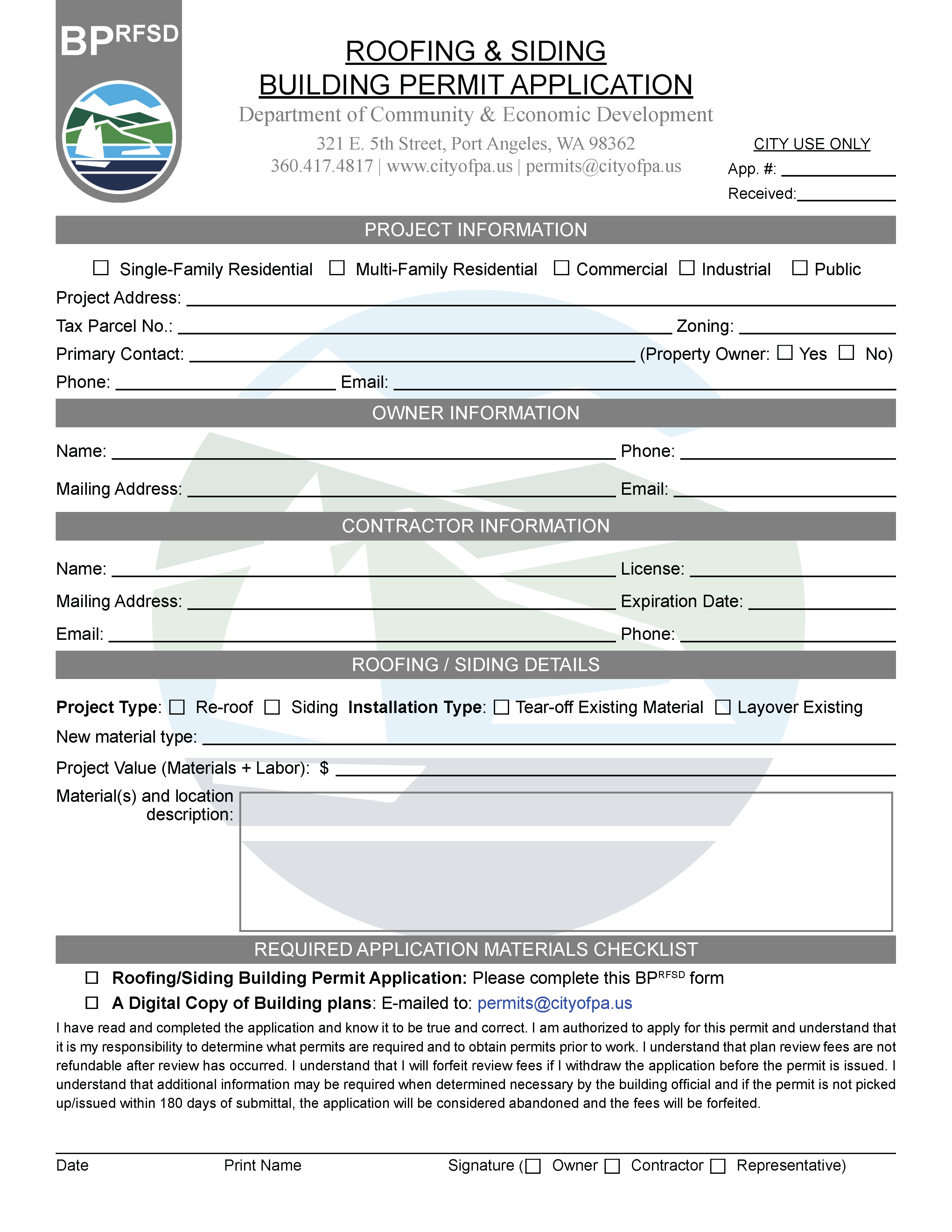 BPrfsd Roofing and Siding Permit Application