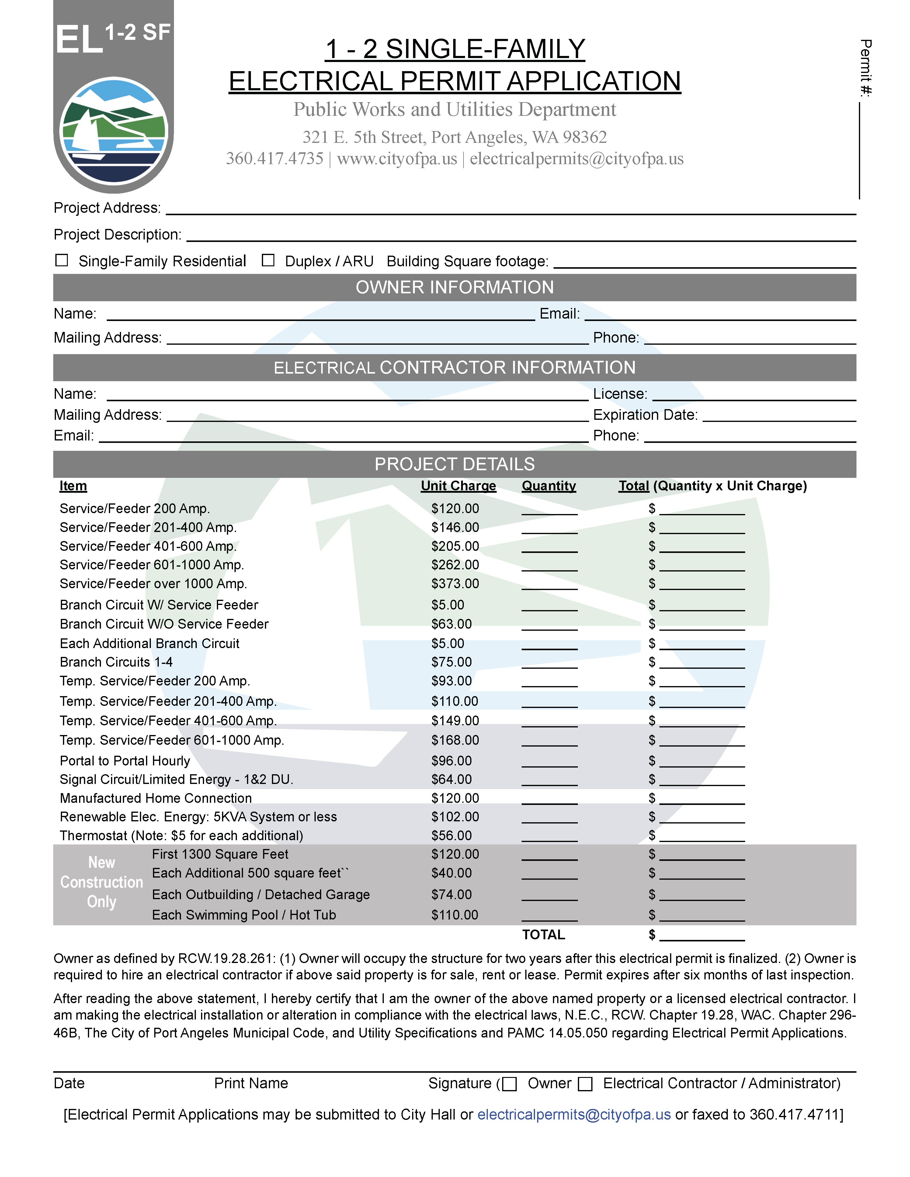 Electrical-Single Family Permit Application