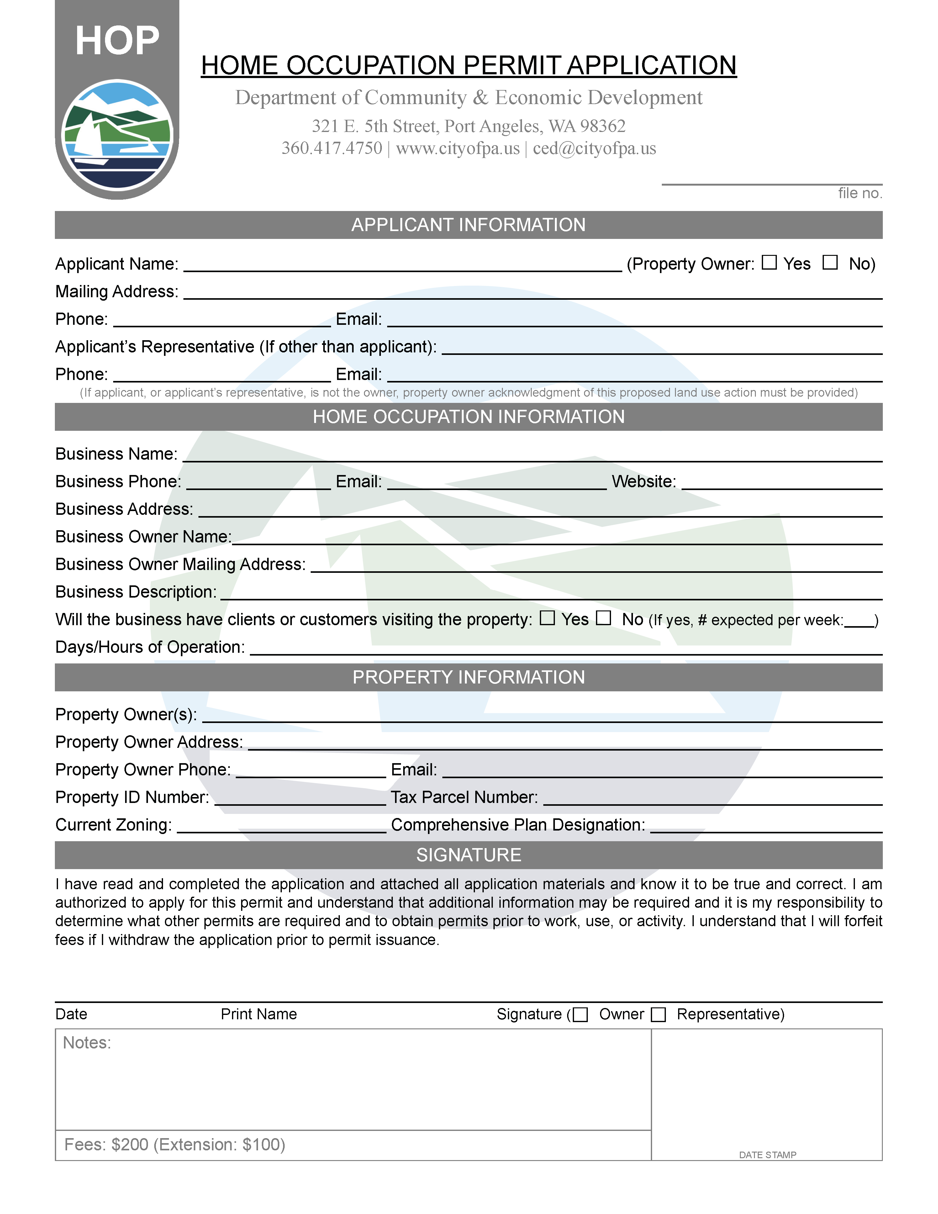 Home Occupation Permit Application