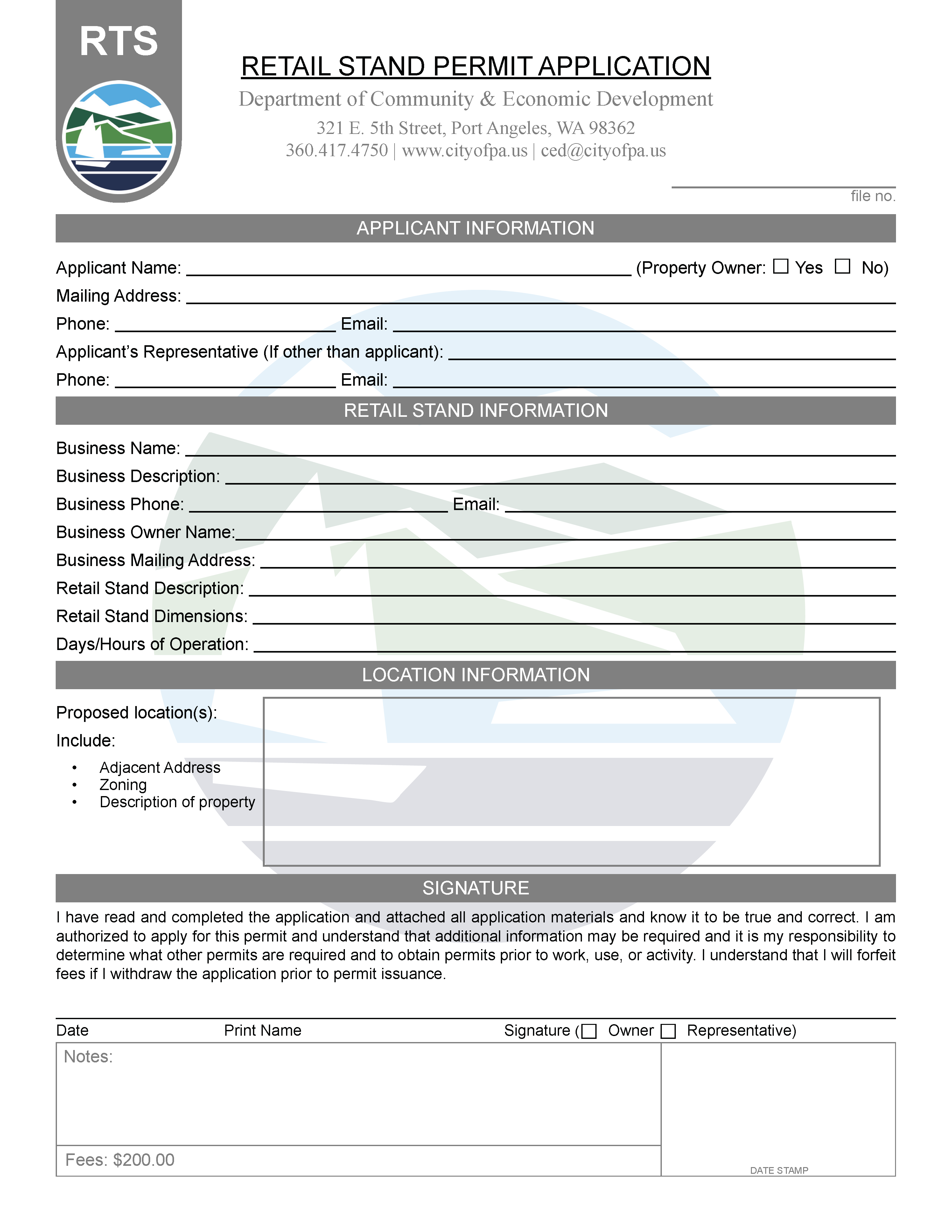 Retail Stand Permit Application