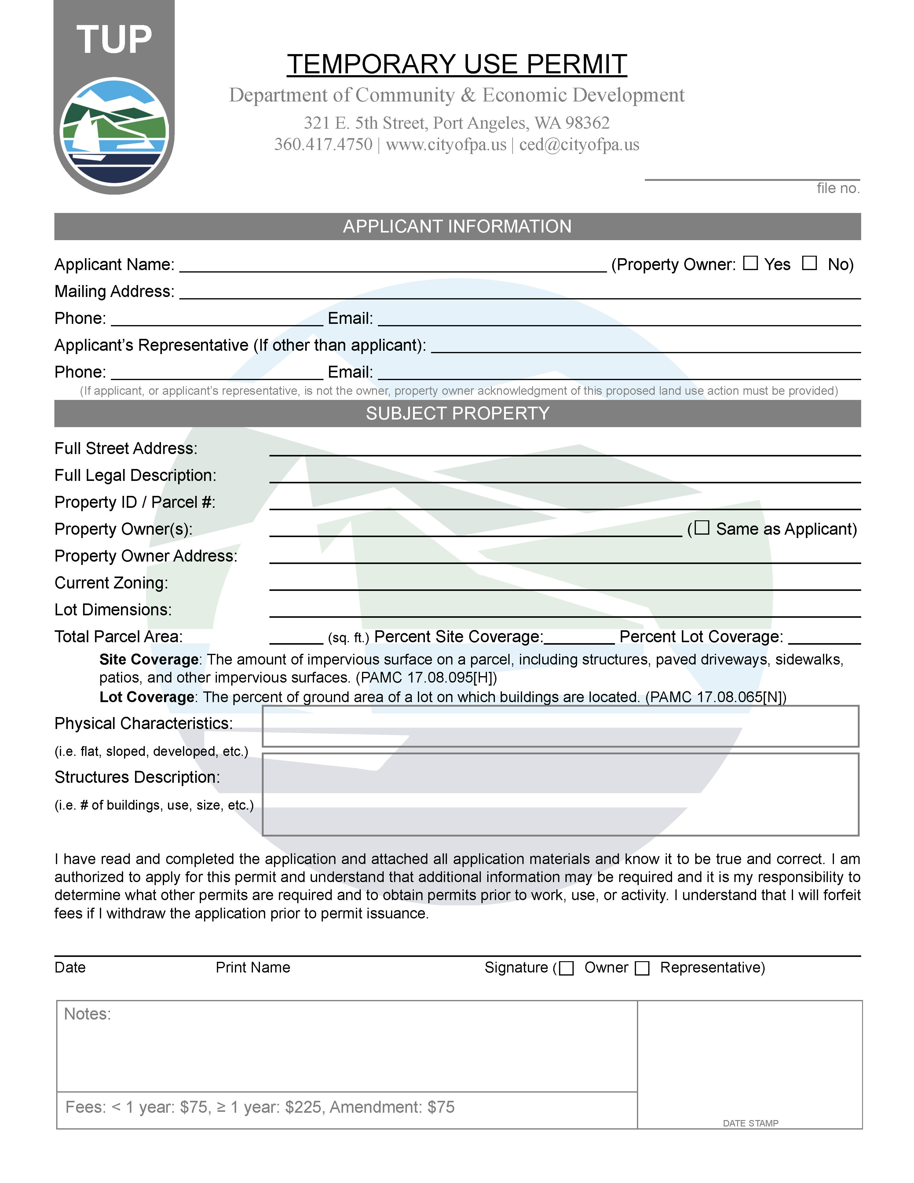 Temporary Use Permit Application