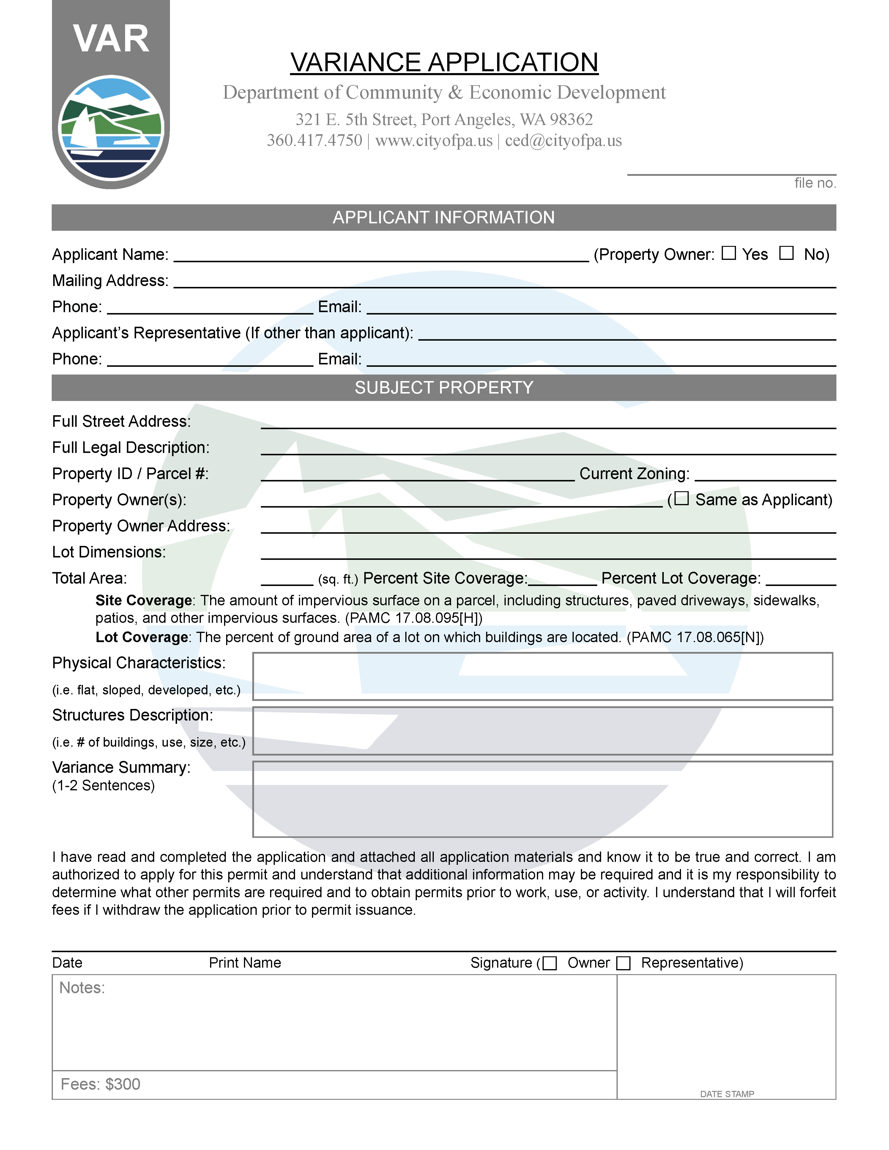 Variance Permit Application